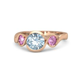 Round Aquamarine 14K Rose Gold Ring with Pink Sapphire