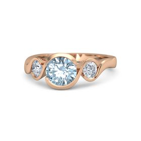 Round Aquamarine 14K Rose Gold Ring with Moissanite