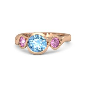 Round Blue Topaz 14K Rose Gold Ring with Pink Sapphire