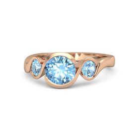 Round Blue Topaz 14K Rose Gold Ring with Blue Topaz