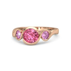 Round Pink Tourmaline 14K Rose Gold Ring with Pink Sapphire