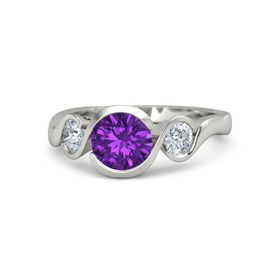 Round Amethyst 14K White Gold Ring with Moissanite
