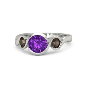 Round Amethyst 14K White Gold Ring with Smoky Quartz