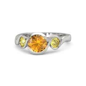 Round Citrine 14K White Gold Ring with Yellow Sapphire