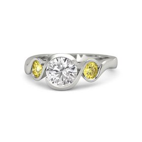 Round White Sapphire 14K White Gold Ring with Yellow Sapphire