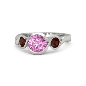 Round Pink Sapphire 14K White Gold Ring with Red Garnet
