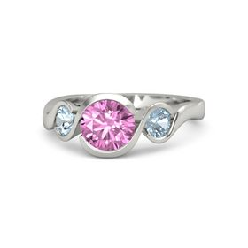 Round Pink Sapphire 14K White Gold Ring with Aquamarine