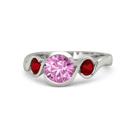 Round Pink Sapphire 14K White Gold Ring with Ruby