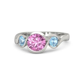Round Pink Sapphire 14K White Gold Ring with Blue Topaz