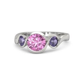 Round Pink Sapphire 14K White Gold Ring with Iolite