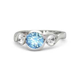 Round Blue Topaz 14K White Gold Ring with Rock Crystal