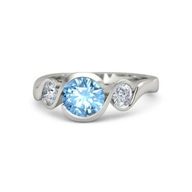 Round Blue Topaz 14K White Gold Ring with Moissanite