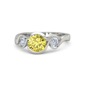 Round Yellow Sapphire 14K White Gold Ring with Moissanite
