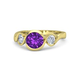 Round Amethyst 14K Yellow Gold Ring with Moissanite