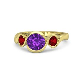 Round Amethyst 14K Yellow Gold Ring with Ruby