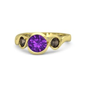 Round Amethyst 14K Yellow Gold Ring with Smoky Quartz