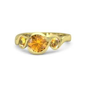 Round Citrine 14K Yellow Gold Ring with Citrine