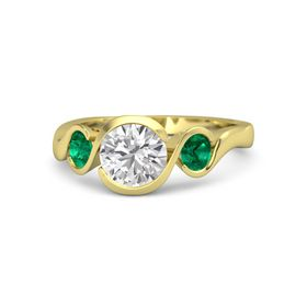 Round White Sapphire 14K Yellow Gold Ring with Emerald
