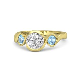 Round White Sapphire 14K Yellow Gold Ring with Blue Topaz