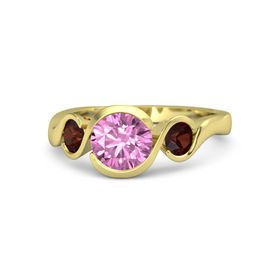 Round Pink Sapphire 14K Yellow Gold Ring with Red Garnet