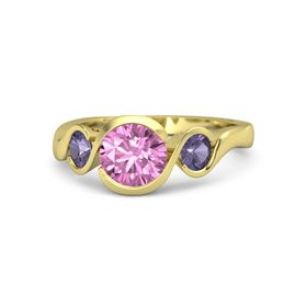 Round Pink Sapphire 14K Yellow Gold Ring with Iolite