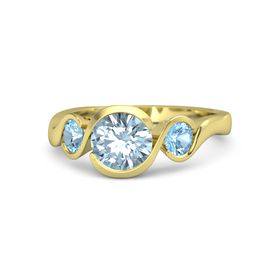 Round Aquamarine 14K Yellow Gold Ring with Blue Topaz