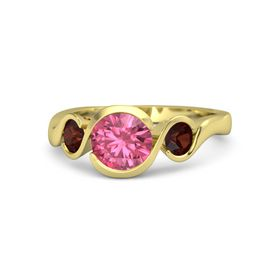 Round Pink Tourmaline 14K Yellow Gold Ring with Red Garnet