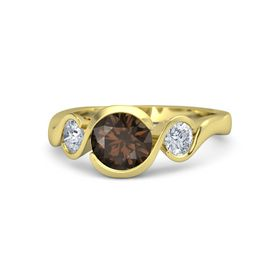 Round Smoky Quartz 14K Yellow Gold Ring with Moissanite