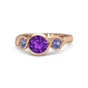 Round Amethyst 18K Rose Gold Ring with Tanzanite