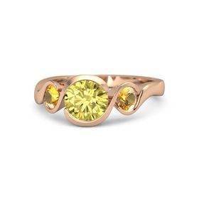 Round Yellow Sapphire 18K Rose Gold Ring with Citrine