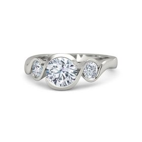 Round Moissanite 18K White Gold Ring with Diamond