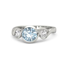 Round Aquamarine 18K White Gold Ring with White Sapphire
