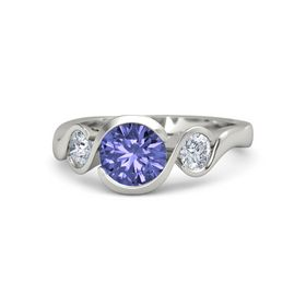 Round Tanzanite 18K White Gold Ring with Diamond