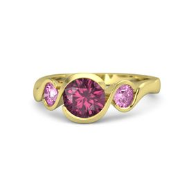 Round Rhodolite Garnet 18K Yellow Gold Ring with Pink Sapphire