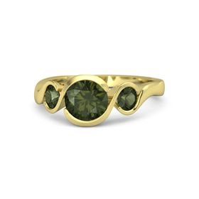 Round Green Tourmaline 18K Yellow Gold Ring with Green Tourmaline