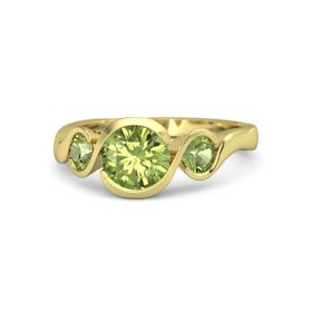 Round Peridot 18K Yellow Gold Ring with Peridot