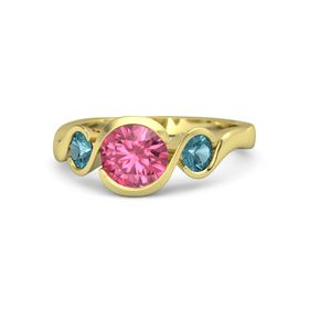 Round Pink Tourmaline 18K Yellow Gold Ring with London Blue Topaz