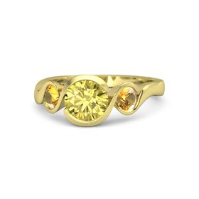 Round Yellow Sapphire 18K Yellow Gold Ring with Citrine