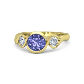 Round Tanzanite 18K Yellow Gold Ring with Diamond