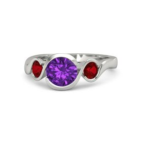 Round Amethyst Palladium Ring with Ruby
