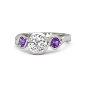 Round White Sapphire Palladium Ring with Amethyst