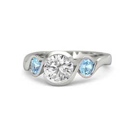 Round White Sapphire Palladium Ring with Blue Topaz