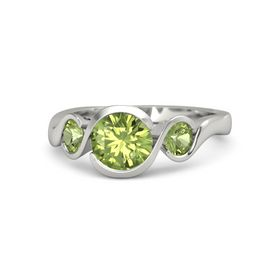 Round Peridot Palladium Ring with Peridot