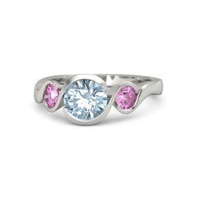 Round Aquamarine Palladium Ring with Pink Sapphire