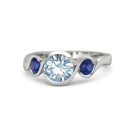 Round Aquamarine Palladium Ring with Sapphire