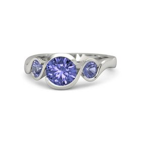 Round Tanzanite Palladium Ring with Tanzanite