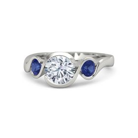 Round Moissanite Platinum Ring with Blue Sapphire