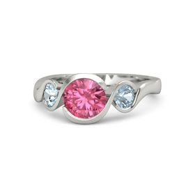 Round Pink Tourmaline Platinum Ring with Aquamarine