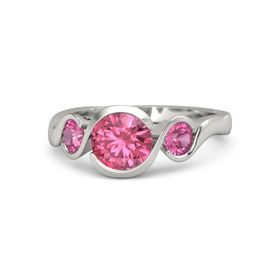 Round Pink Tourmaline Platinum Ring with Pink Tourmaline