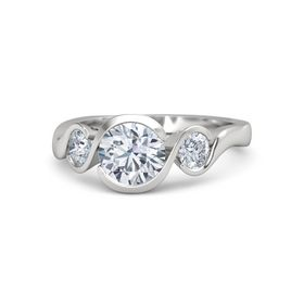 Round Diamond Sterling Silver Ring with Moissanite